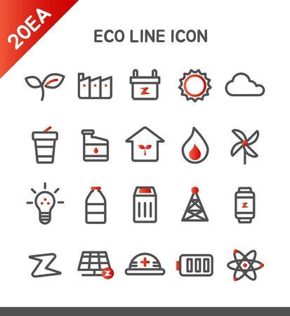 thermal power plant: Eco Icon Set l�nea