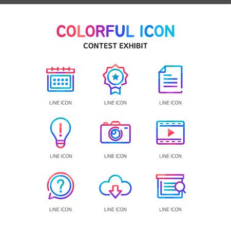 inquire: contest exhibit line Icon Set