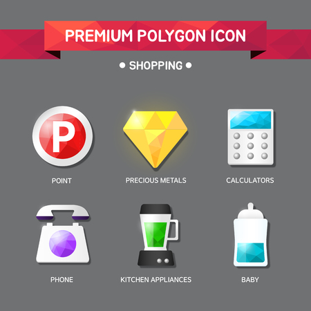 shopping Polygon Icon Set