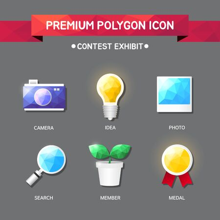contest exhibit Polygon Icon Set Illustration