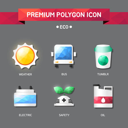 thermal power plant: eco Polygon Icon Set Illustration
