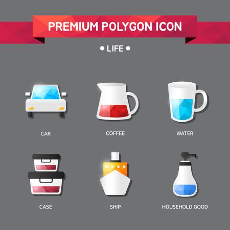 tumbler: life Polygon Icon Set Illustration