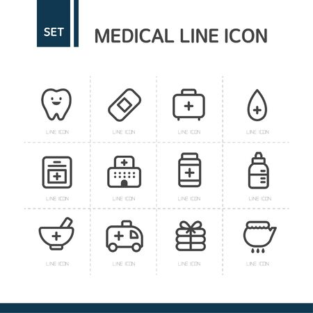 oriental medicine: Medical line Icon set