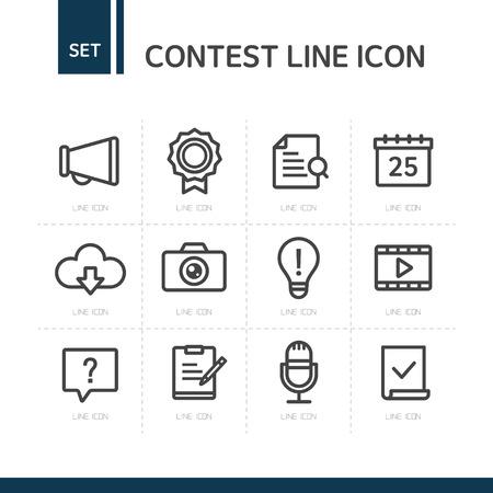Contest Line Icon Set