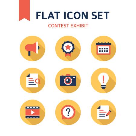 inquire: contest exhibit flat icon set
