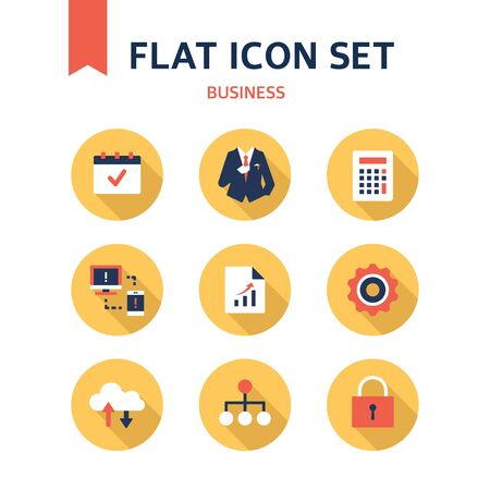 groupware: Business Flat Icon Set Illustration