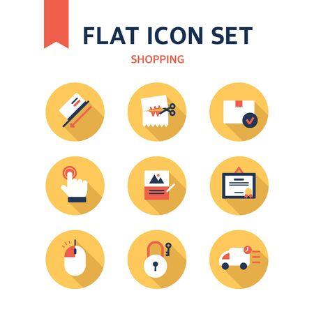 authorization: shopping flat icon set