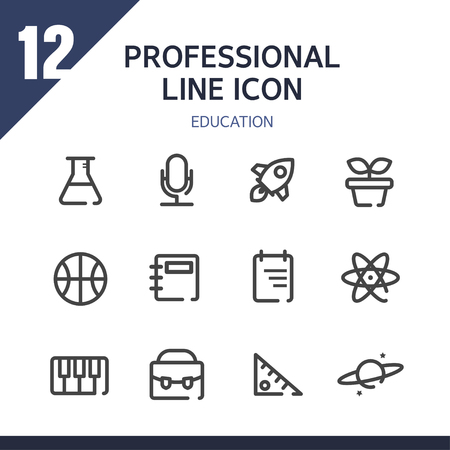 admissions: Education line Icon set
