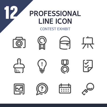 contest: contest exhibit line Icon Set
