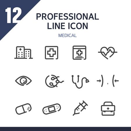 emergency room: Medical line Icon set