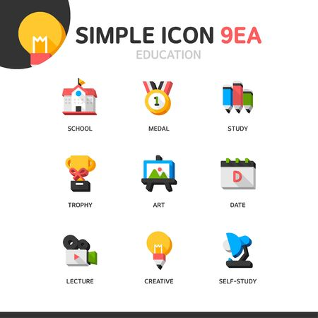 utilization: Education Simple Icon Set Illustration