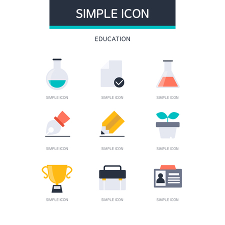 Education Simple Icon Set Illustration