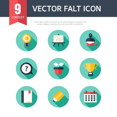 contest: contest exhibit flat icon set