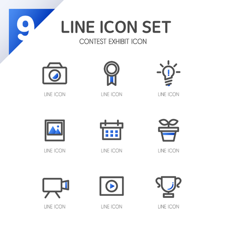 admissions: contest exhibit line Icon Set