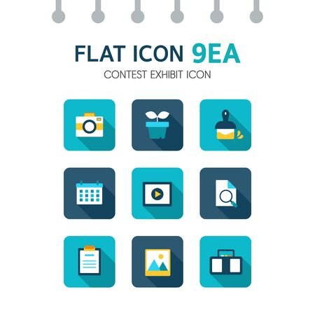 admissions: contest exhibit flat icon set