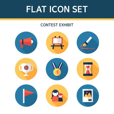 exhibit: contest exhibit flat icon set