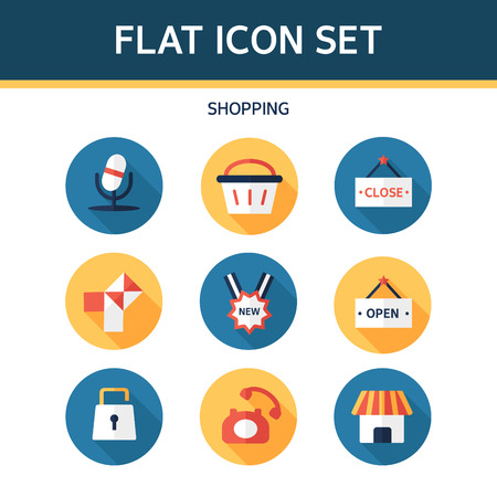 utilization: shopping flat icon set