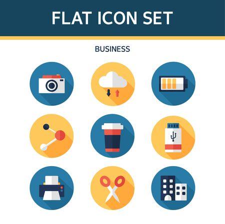 tumbler: Business Flat Icon Set Illustration