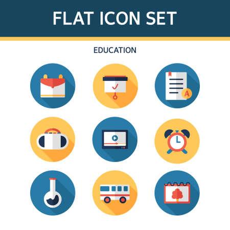 educacion sexual: Educación plana Icon Set Vectores