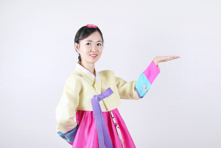 traditional: Woman in Korean Traditional Dress Stock Photo