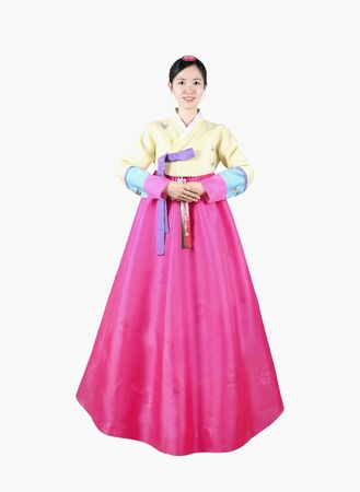 Woman in Korean Traditional Dress Stock Photo