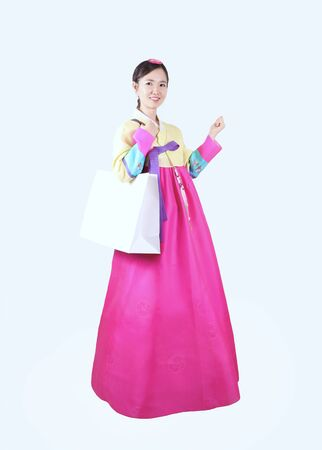 thanksgiving adult: Woman in Korean Traditional Dress Stock Photo