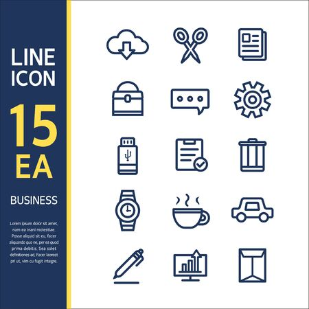 psd: Business line Icon set