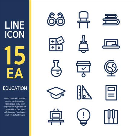 psd: education line icon set