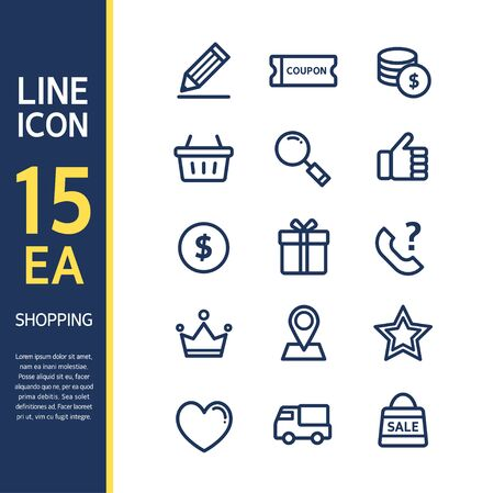 shopping questions: Shopping line Icon set