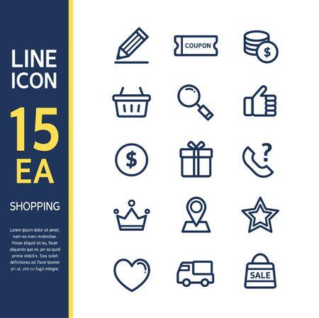 Compras line Icon set