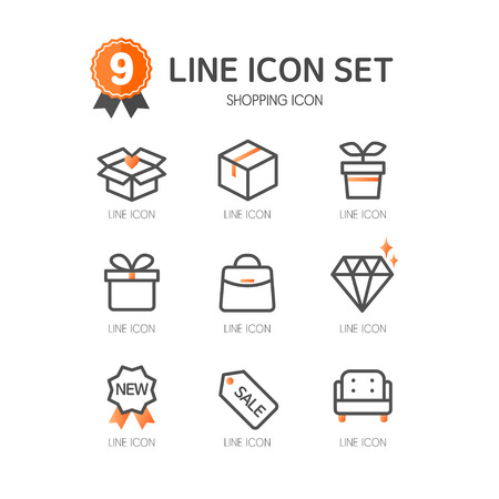 jewelry boxes: Shopping line Icon set