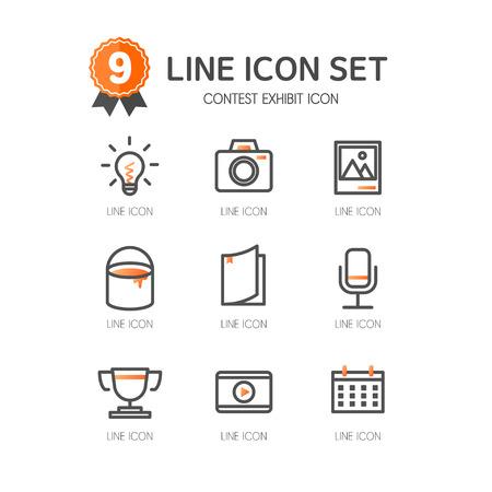 contest exhibit line Icon Set