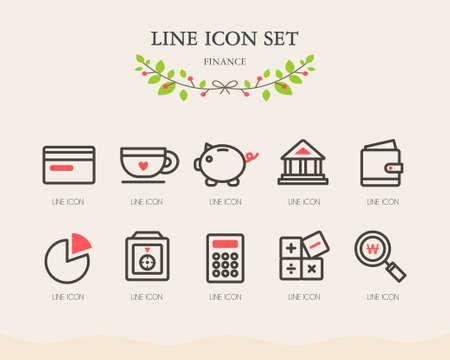 conjugation: Finance line Icon Set
