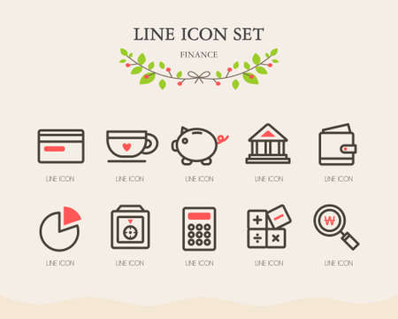 Finance line Icon Set