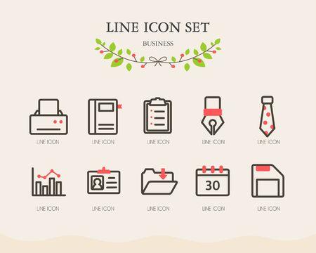 conjugation: Business line Icon set