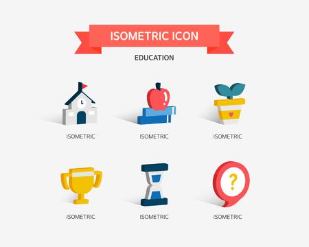 conjugation: education Isometric icon Illustration