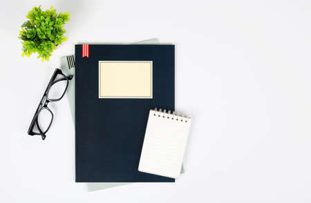 table top: Office desk table with supplies. Top view. Stock Photo