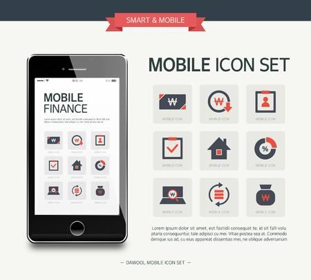 Vector finance simple icon set Vectores