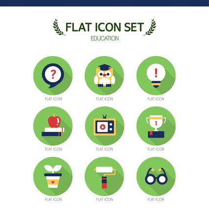 conjugation: Education Flat Icon Set