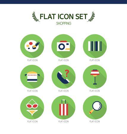 conjugation: shopping flat icon set