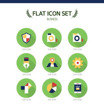 conjugation: Business Flat Icon Set Illustration