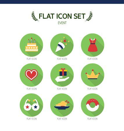conjugation: event flat icon set