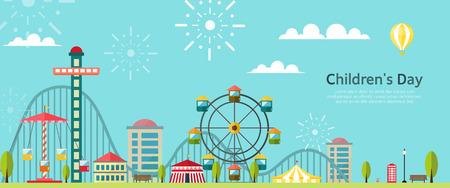parque de atracciones de la ilustración Ilustración de vector