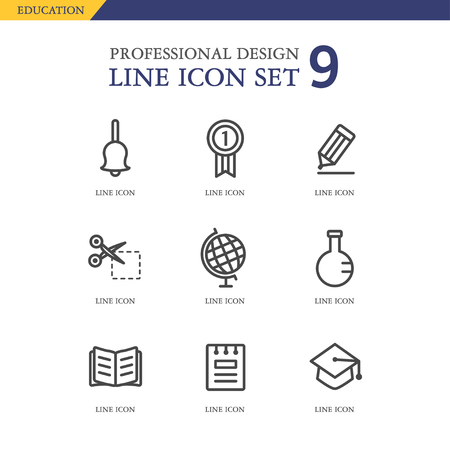 din: Education line Icon set