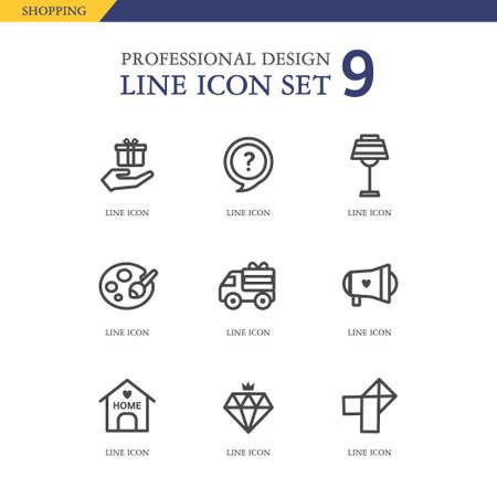 conjugation: Shopping line Icon set