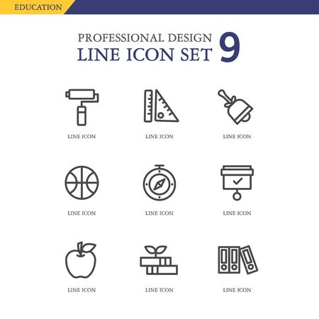 conjugation: Education line Icon set