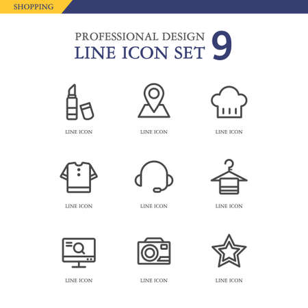 conjugation: Shopping line Icon set