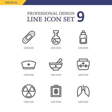 conjugation: Medical line Icon set