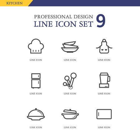 measuring spoon: Kitchen line icon set