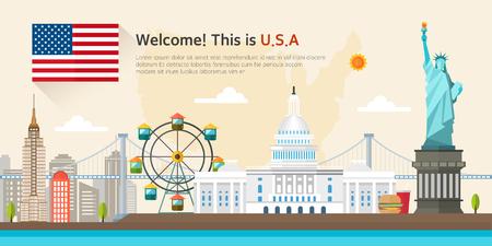 アメリカ合衆国のランドマークのイラスト  イラスト・ベクター素材